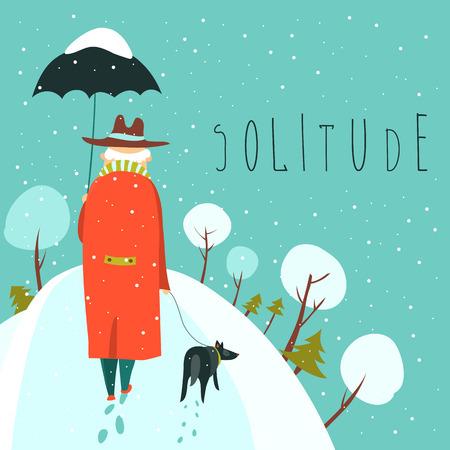 눈 덮인 공원에서 강아지와 함께 산책하는 외로운 노인. 벡터 일러스트 레이 션