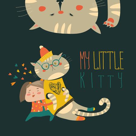 Piccola ragazza con gattino divertente. Illustrazione vettoriale
