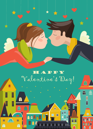 cute house: Couple in love celebrating Valentines Day. Vector romantic greeting card