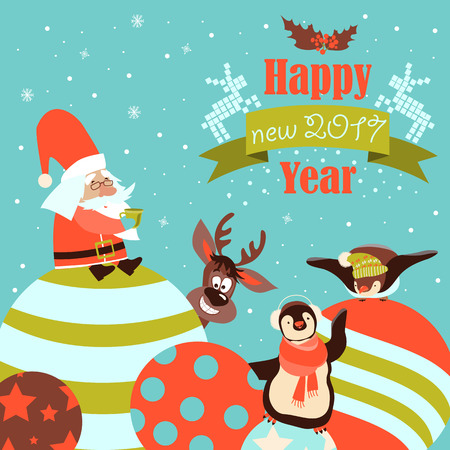 Funny penguins with Santa Claus celebrating Christmas. Vector illustration