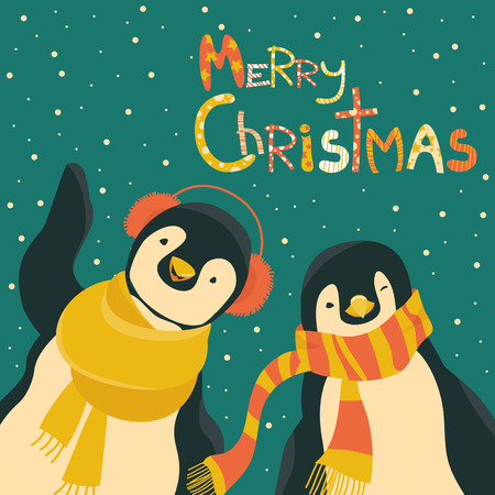 Funny penguins friends celebrating Christmas. Vector illustration