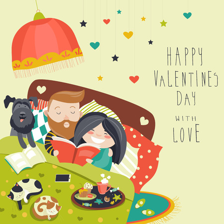 happy couple in bed: Happy couple in bed with cats and dog. Vector illustration