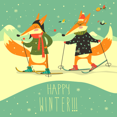 piste: Cute foxes skiing on the piste. Happy winter. Vector illustration