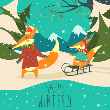 Funny couple of foxes sledding. Vector illustration Illustration
