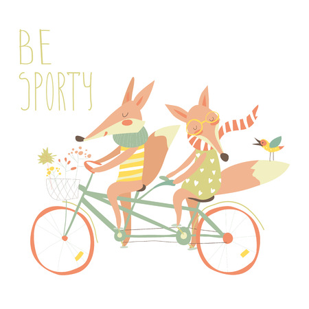 cute cards: Cute couple foxes ride tandem bicycle.Vector illustration