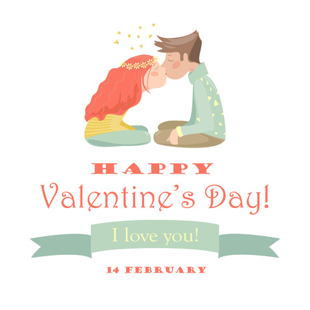 lovely couple: Valentines card with  couple . Vector illustration