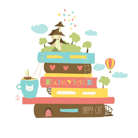 Fairytale concept with book and  castle. Vector illustration