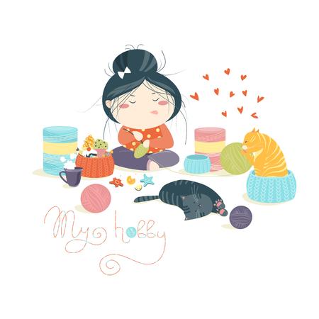 knitting: Funny pretty girl knitting. Vector isolated illustration Illustration