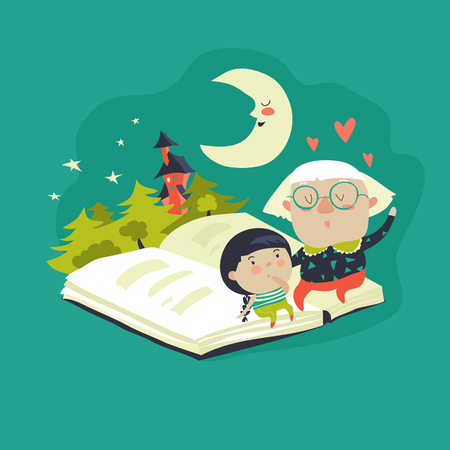 Grandmother tells a fairytales to her granddaughter. Vector illustration