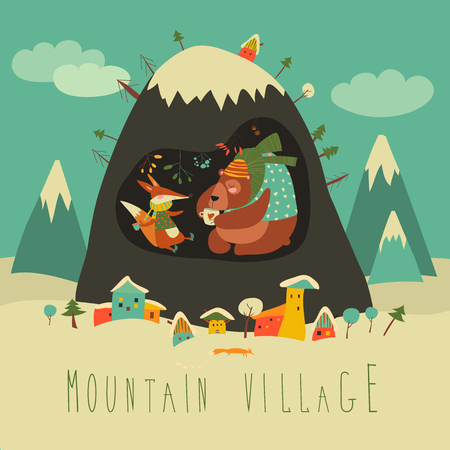 Snow covered village by the mountain with bear and fox inside the cave. Vector illustration