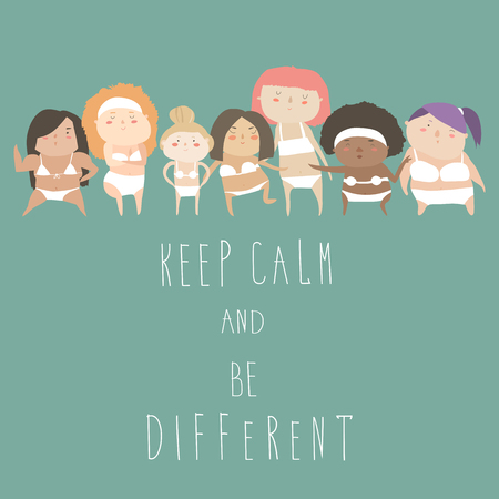 be different: Cute women with different figures. Be different. Vector illustration Illustration