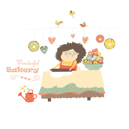 Happy mother baking donuts. Vector isolated illustration