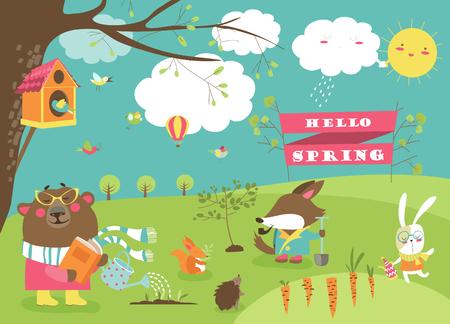 Cute cartoon animals in spring forest. Vector illustration
