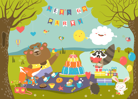 Cartoon animals celebrating Birthday in the forest. Vector illustration