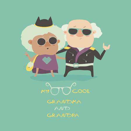 illustration cool: Cool grandma and grandpa wearing in leather jacket. Vector illustration Illustration