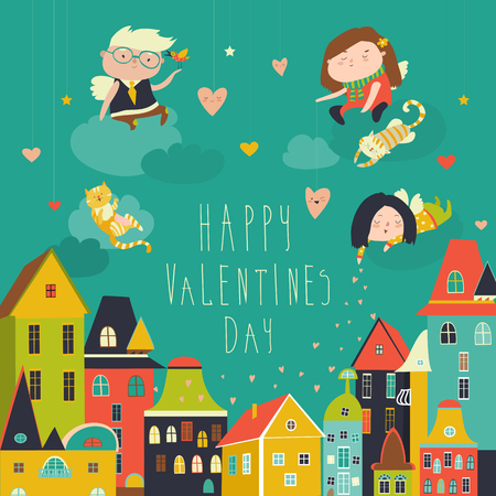 Cute angels celebrating Valentines Day. Vector romantic greeting card Stock Photo