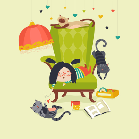 tea cup: Little girl playing with cat. Vector illustration