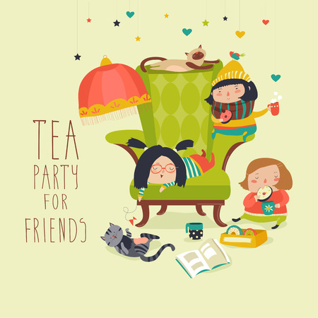 chat room: Group of Friends Having a Tea Party. Vector illustration