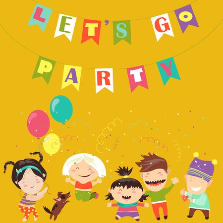 Happy kids celebrating Birthday. Vector greeting card Illustration