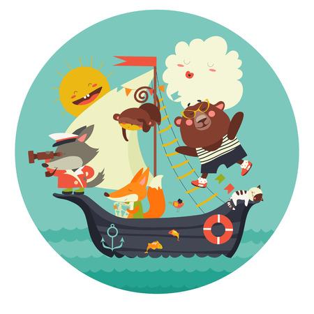 바다에 배를 타고 여행하는 귀여운 동물. 벡터 일러스트 레이 션