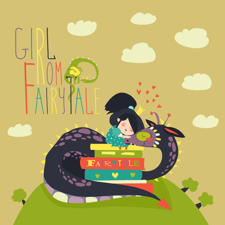 crown tail: Cute princess sitting on pile of books and hugging the dragon. Vector illustration