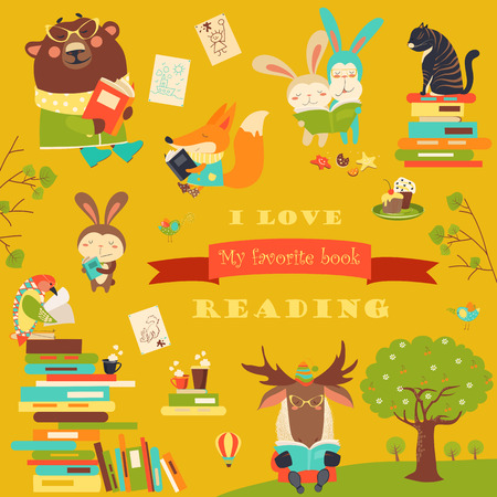 engrossed: Set of cartoon animals reading books. Vector collection Illustration