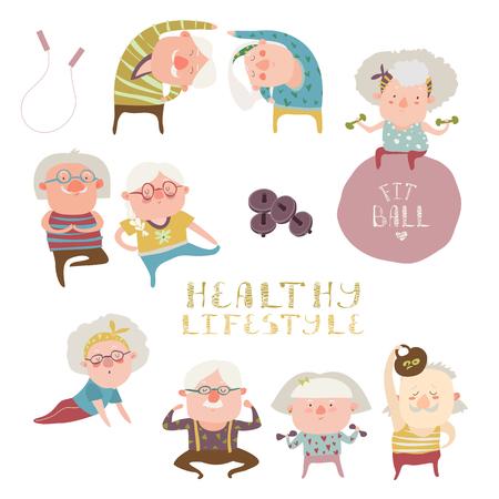 Vector set van ouderen die oefeningen Stock Illustratie
