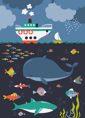 sea world: Sea life. Underwater world. Vector flat illustrations and icon set Illustration