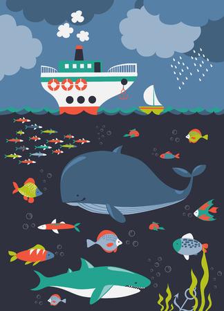 Sea life. Underwater world. Vector flat illustrations and icon set Illustration
