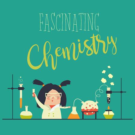 Meisje dat in het chemie laboratorium werkt. Vector illustratie