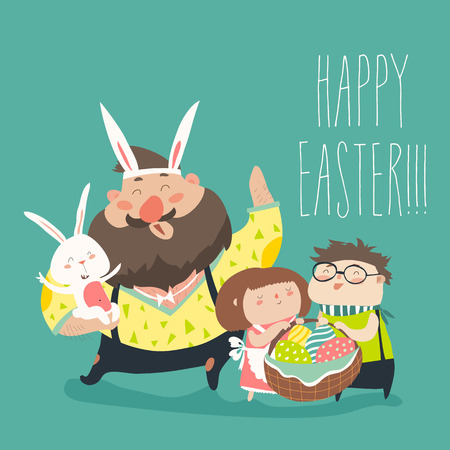 happy kids: Happy father with kids celebrating Easter Illustration