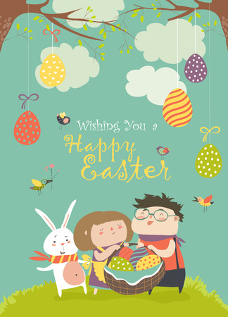 traditon: Happy children holding a basket of Easter eggs