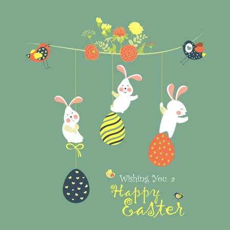 Bunnies and easter eggs Illustration