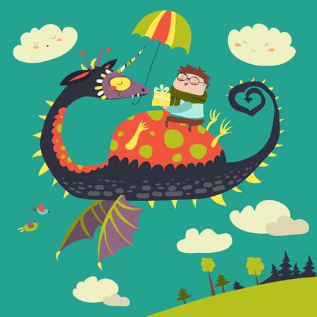 Little boy sitting on the dragon. Vector illustration Illustration