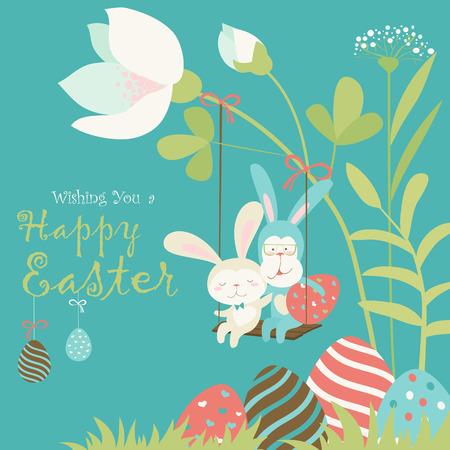 conejitos de Pascua y huevo de Pascua