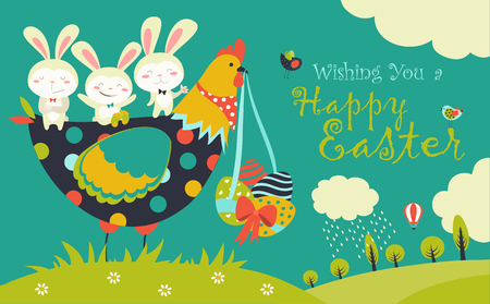 Easter bunnies,chicken and easter eggs