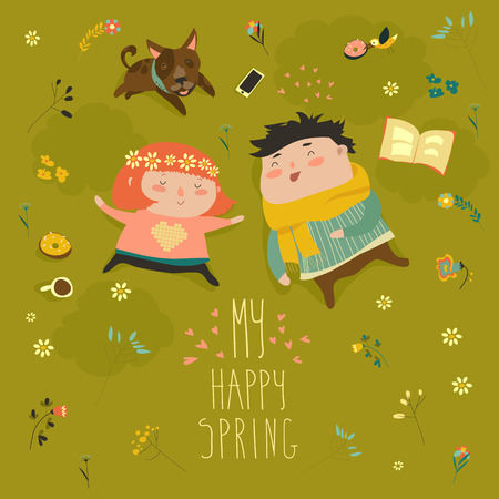 grass flower: Happy kids lying on the meadow grass full of spring flowers