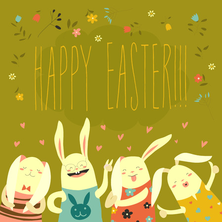 invited: Funny bunnies celebrating Easter
