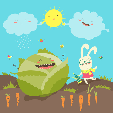 Little rabbit and cabbage field