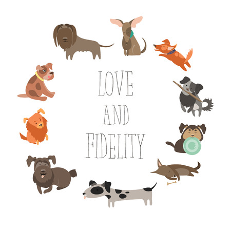 Set of funny Mixed Breed dogs Illustration