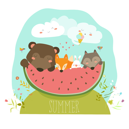 Cute animals eating watermelon slice. Hello summer