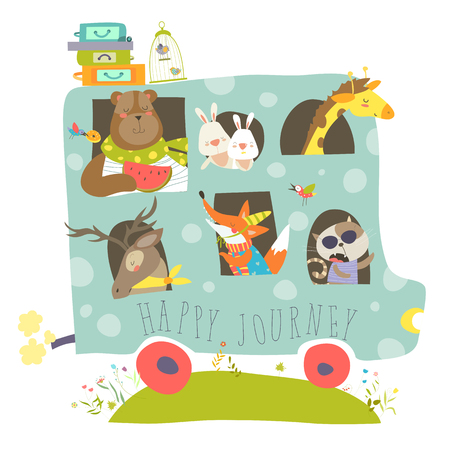 Cute animals traveling by bus 矢量图像