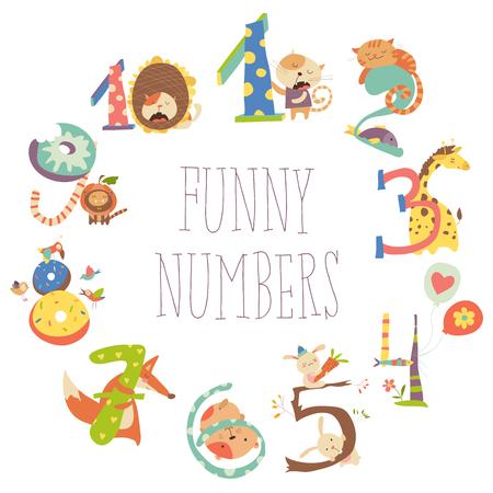 third birthday: Set of Birthday Anniversary Numbers with Funny Animals Illustration