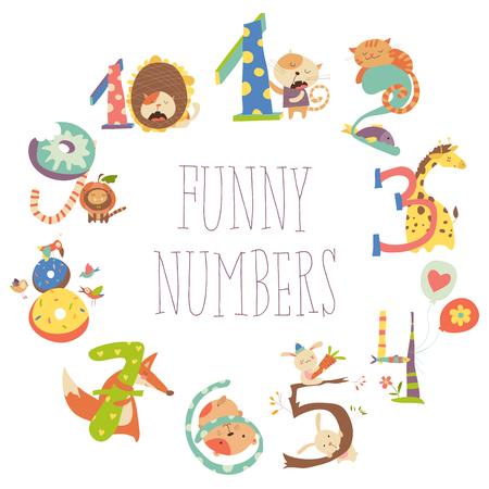 Set of Birthday Anniversary Numbers with Funny Animals Illustration