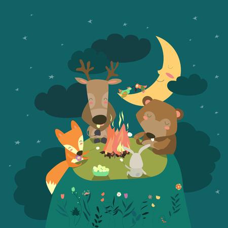 Animals resting around bonfire