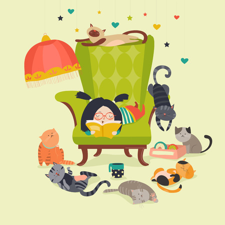 Cute girl reading book to cats. Vector illustration
