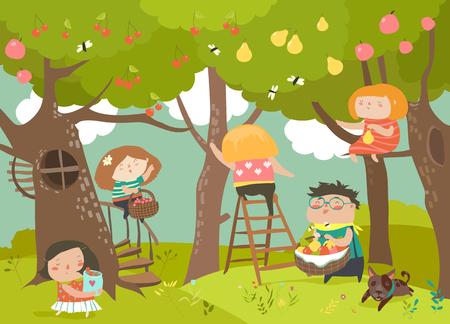 Happy children harvesting Imagens