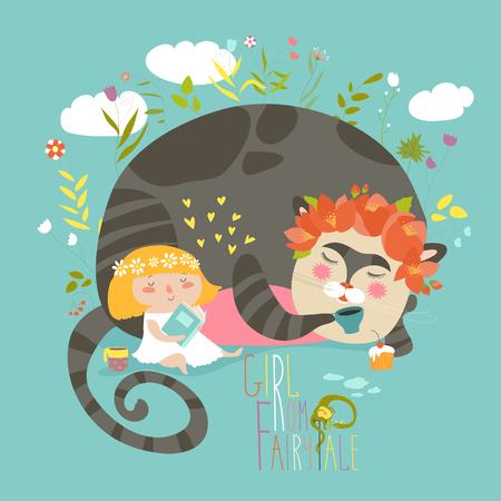 Schattig meisje leesboek voor magische kat Stock Illustratie