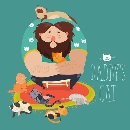 Big man wih cute cats Illustration