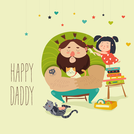 Happy daughter makes a hairdo for dad. Vector illustration
